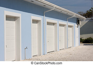 storage units - line of new storage units at resort complex...