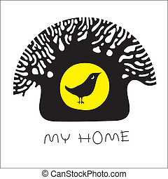 My home - Vector image of a tree and a bird in the hollow
