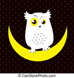 Snowy owl - Vector. Image of an owl that sits on a moon