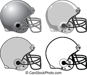 Football Helmets - Illustration of four football helmets...