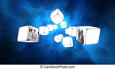 Business videos on cubes floating - Animation of business...