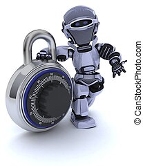 Robot with combination padlock - 3D render of a Robot with...