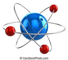 Atom model - Abstract 3D atom model isolated on white...