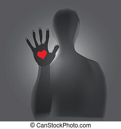 Mystical figure - Heart in hand, a mystical figure. Vector...