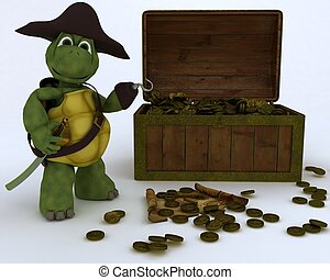 tortoise pirate with a treasure chest - 3D render of...