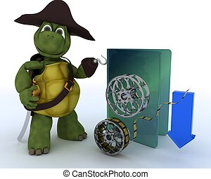 Pirate Tortoise depicting illegal movie downloads - 3D...