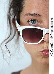 婦女, 太陽鏡, 年輕