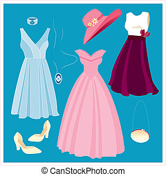 vector set of clothing and accessor - Is a editable eps file...