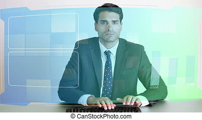 Video of business people at desk - Animation of business...