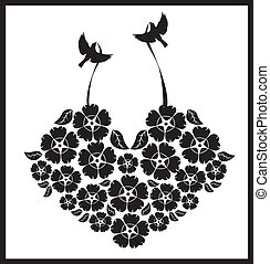 birds with a heart of flowers - Is a editable eps file