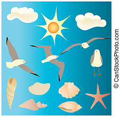 Vectors designs of gulls,seashells - Is a editable eps file....