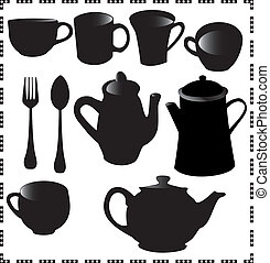 vectors graphics of mugs and teapot