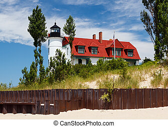 Pointe Betsie Lighthouse with Beach Sewall