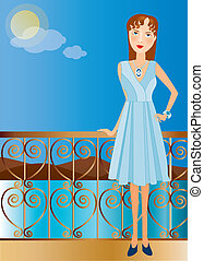 woman with dress at the beach - Is a editable eps file