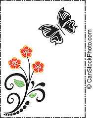 silhouettes of butterfly and flower - Is a editable eps...