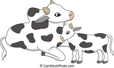 Mother and baby cow cartoon - Vector illustration of Mother...