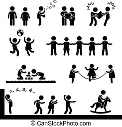 Happy Children Playing Pictogram - A set of pictogram...