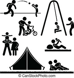Father Dad Daddy Son Family Parent - A set of pictogram...