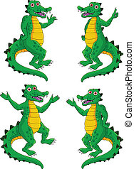 crocodile set - vector illustration of crocodile set