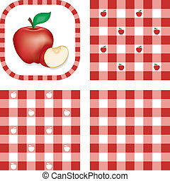 Seamless Patterns, Apples, Gingham - Red apples in frame,...
