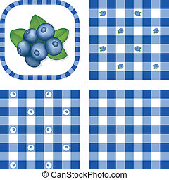 Seamless Patterns, Berries, Gingham - Fresh blueberries in...
