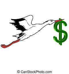 White Stork with in flight the dollar in its beak. vector...