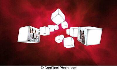 Business videos on cubes drifting - Animation of business...