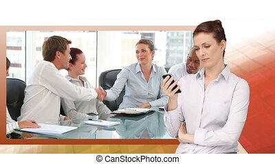 Videos of business with a woman tex - Animation of videos of...