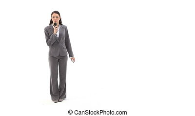 Business woman talking into a recor