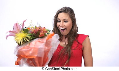 Happy woman receiving a bunch of fl