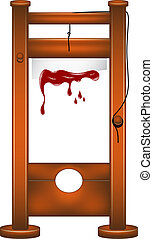 Guillotine with bloody blade on white background