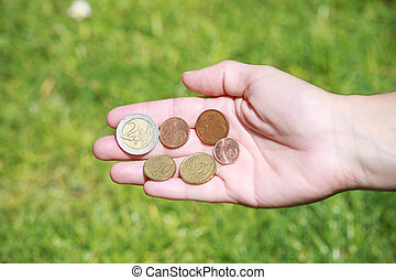 Female hands opened with euro coins