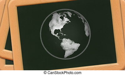 Chalkboard Globe - A chalk sketch of the earth rotates on a...