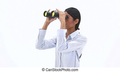 Woman holding binoculars - Video of a woman holding...