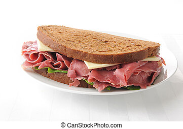 Corned beef sandwich - A corned beef and swiss cheese...