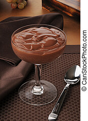 Gourmet chocolate pudding - chocolate pudding served in fine...