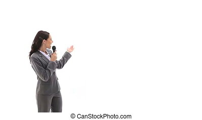 Business woman holding a micro whil - Video of a business...