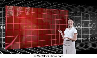 Woman presenting a chart - Animation of a woman presenting a...