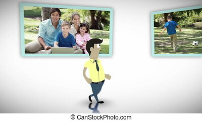Family in a park animation
