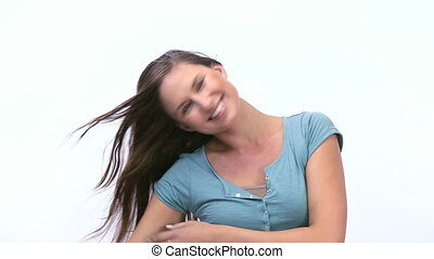 Smiling woman raising arms
