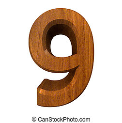 3d number 9 in wood - 3d made