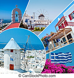 The beautiful Greek island, Mykonos - Collage of Mykonos...