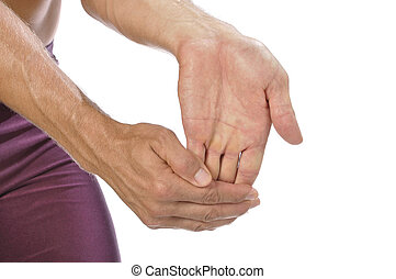 Wrist stretch - Closeup of athletic man stretching his hand,...