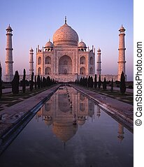 Taj Mahal at sunset, Agra, India. - The Taj Mahal at sunset,...