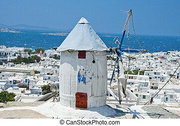 The beautiful Greek island, Mykonos - Mykonos island with...