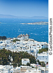 The beautiful Greek island, Mykonos - Mykonos island with...