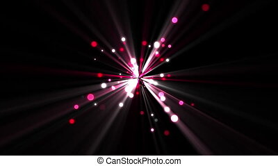 Pink dots moving and coming from a shining star against a...