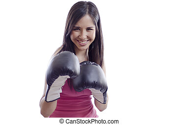 Pretty woman having fun boxing