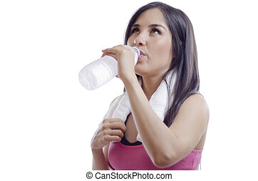 Cute girl drinking water - Cute young woman cooling down and...