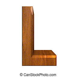 3d letter L in wood - 3d made